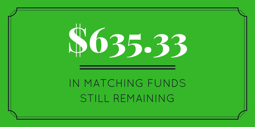$2082.37 in matching funds still remaining (1)